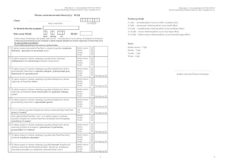NFZ-58 Ocena Zaawansowania Łuszczycy DLQI A4c/bl.100k