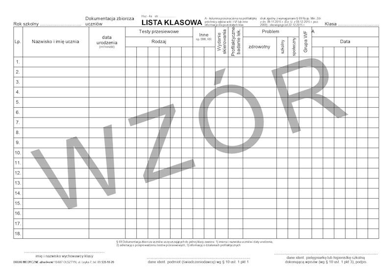 HSZ-4 Lista Klasowa, Numeracja 1-36 A4b/bl.100k