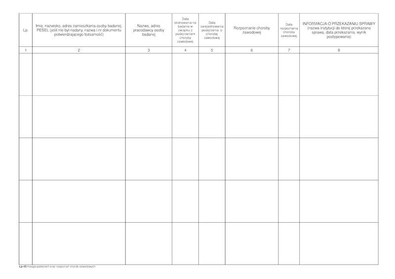LP-45 Księga podejrzeń oraz rozpoznań chorób zawodowych A4/100k Spirala