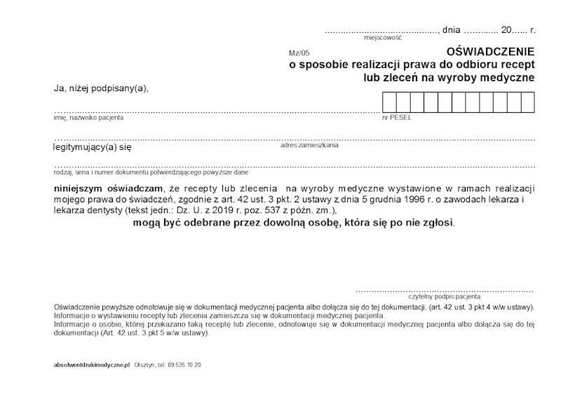 MZ/05 Oświadczenie o realizacji prawa do odbioru recept A5a/bl.100k