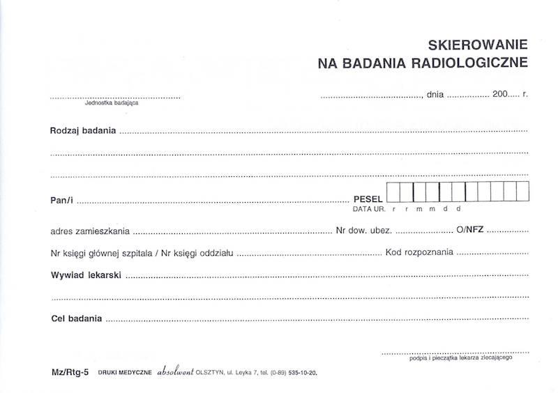 RTG-5 Skierowanie Na Badanie Radiologiczne A5c/bl.100k