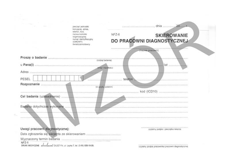 NFZ-6 Skierowanie do pracowni diagnostycznej A5a/bl.100k