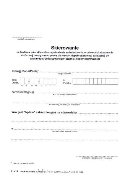LP-14 Skierowanie Na Badanie - Skrócony Czas Pracy A5a/bl.100k
