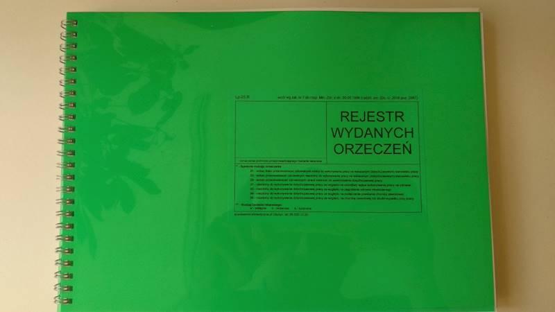 LP-25R Rejestr wydanych orzeczeń A4b Spirala