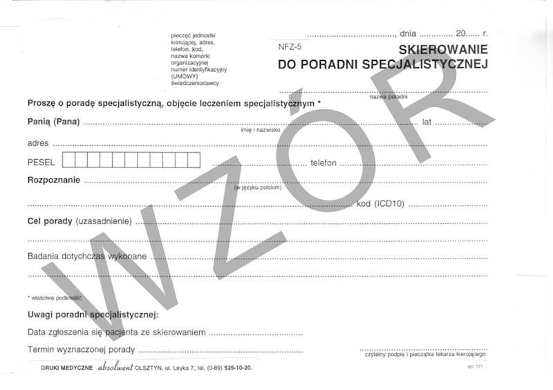 NFZ-5 Skierowanie do poradni specjalistycznej A5a/bl.100k