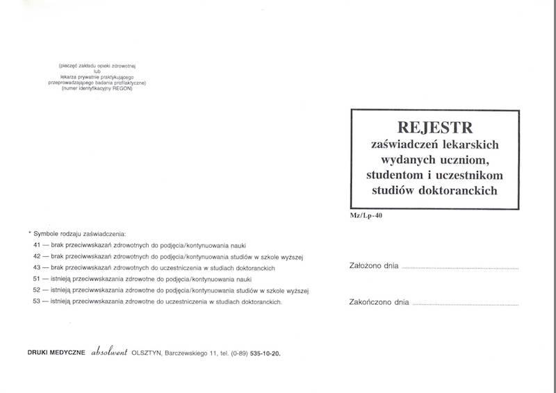 LP-40 Rejestr zaświadczeń lekarskich uczeń / student / doktorant A4c/100k Spirala