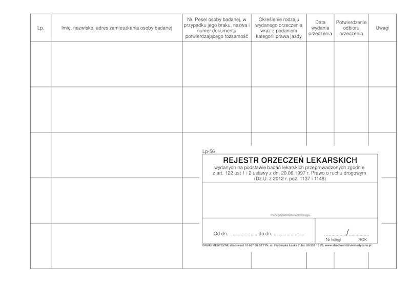 LP-56 Rejestr Orzeczeń Lek. (kierowcy) 100k/A4b Spirala