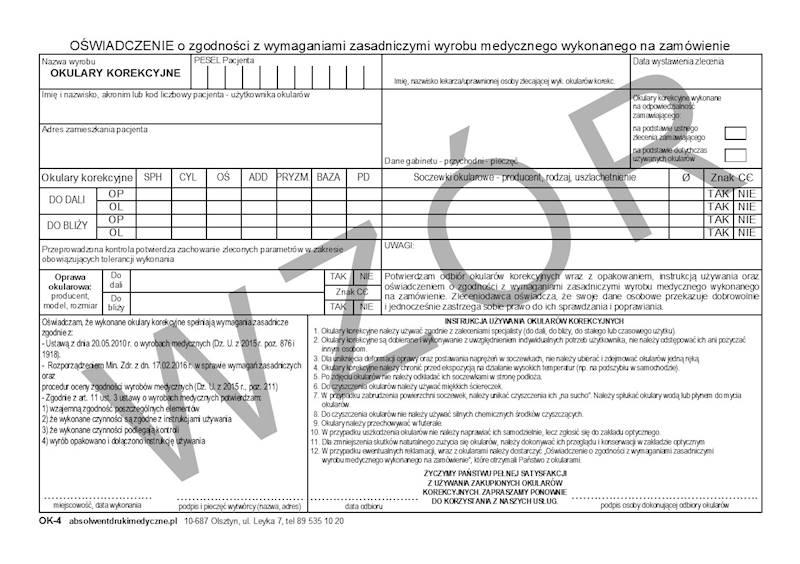 OK-4 Oświadczenie o zgodności wyrobu medycznego A5a/bl.100k Samokopia