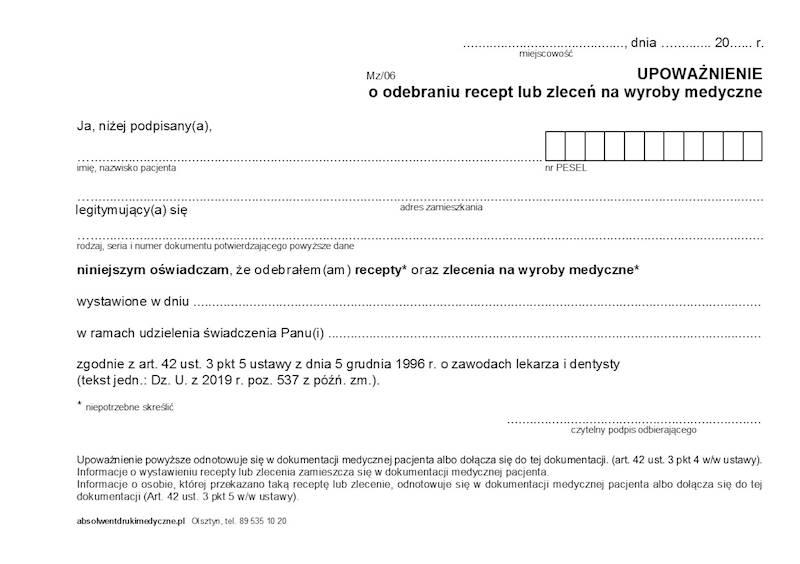 MZ/06 Oświadczenie o odebraniu recept lub zleceń A5a/bl.100k