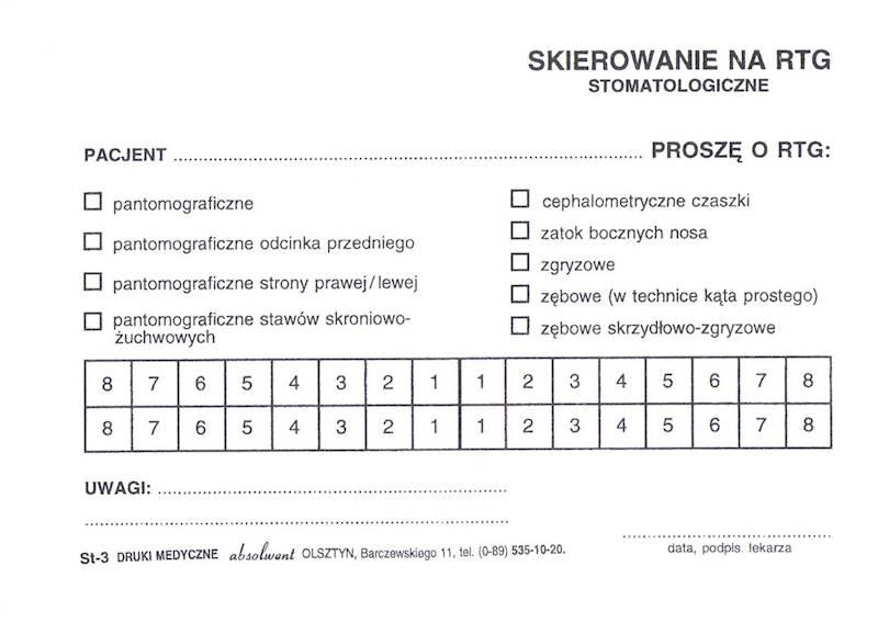 St-3 Skierowanie na RTG stomatologiczne A6a/bl.100k