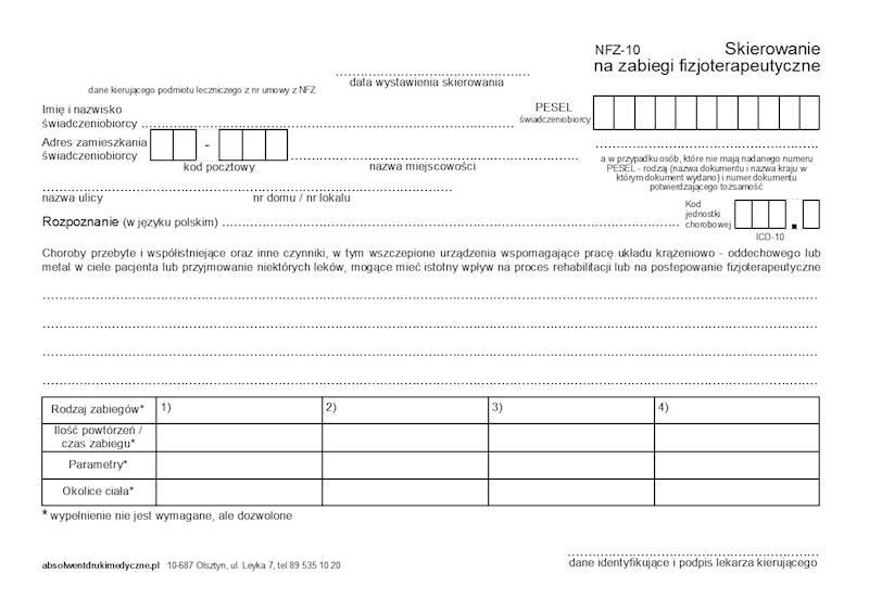 NFZ-10 Skierowanie na zabiegi fizjoterapeutyczne A5c/bl.100k