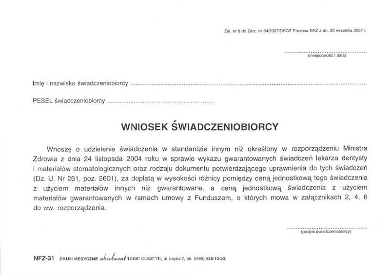 NFZ-31 Wniosek świadczeniobiorcy A5a/bl.100k