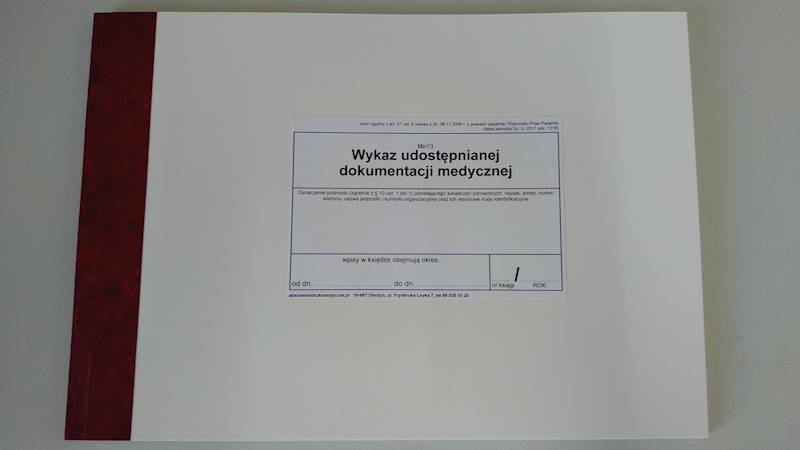 MZ/13 Wykaz udostępnianej dokumentacji medycznej A4b/50k Oprawa twarda Drut