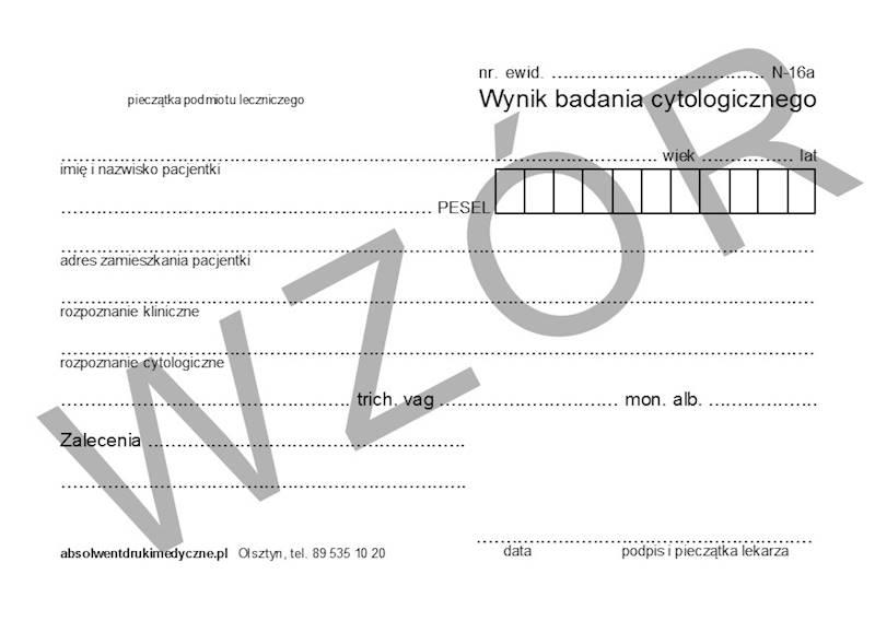 N-16A Wynik badania cytologicznego A6a/bl.100k