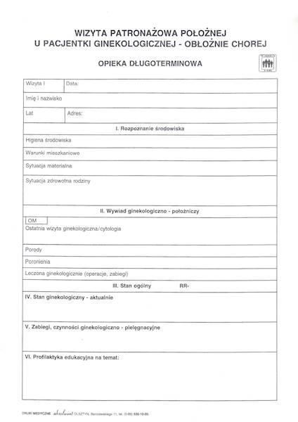 P-7 Wizyta patronażowa położnej u pacjentki ginekologicznej obłożnie chorej A4a/bl.100k