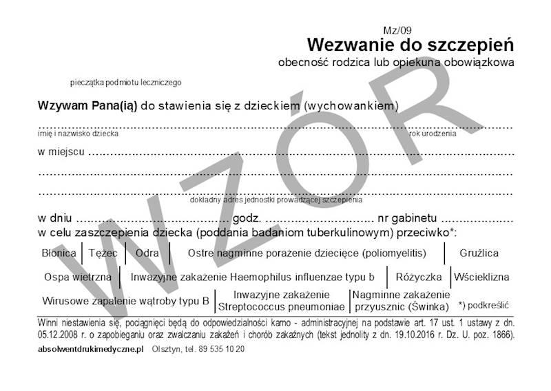 Mz/09 Wezwanie do Szczepień - Kartka Pocztowa A6c/100szt Karton