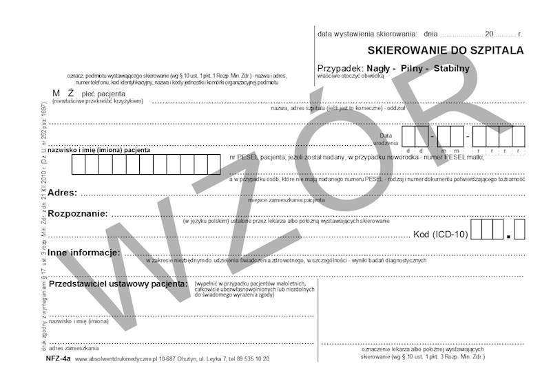 NFZ-4a Skierowanie do szpitala A5a/bl.100k