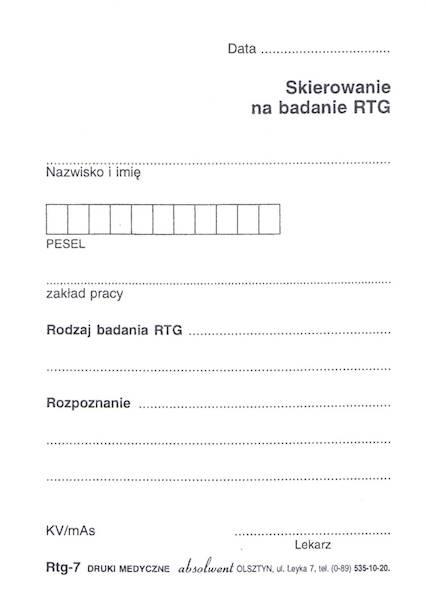 RTG-7 Skierowanie na badanie Rtg A6a/bl.100k