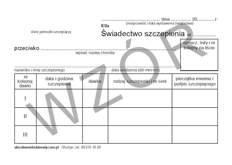 E/2A Świadectwo szczepienia A6a/bl.100k