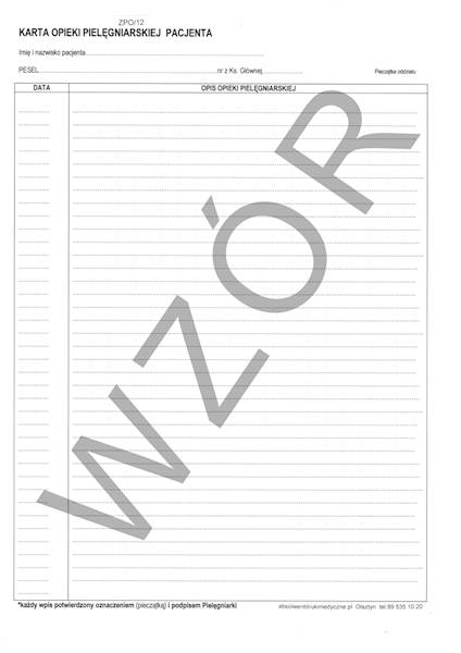 ZPO/12 Karta opieki pielęgniarskiej pacjenta 2xA4b/100szt