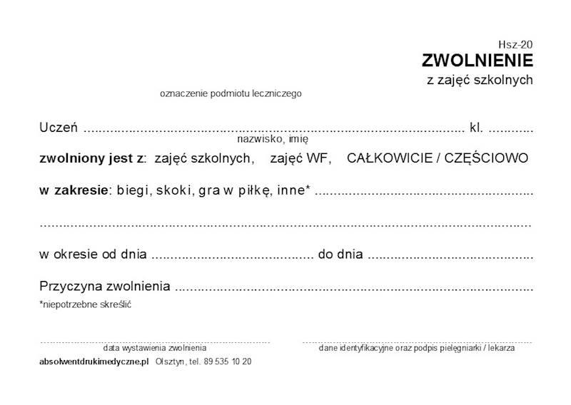 HSZ-20 Zwolnienie z zajęć szkolnych A6a/bl.100k