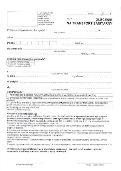 NFZ-9 Zlecenie na transport sanitarny A4a/bl.50k