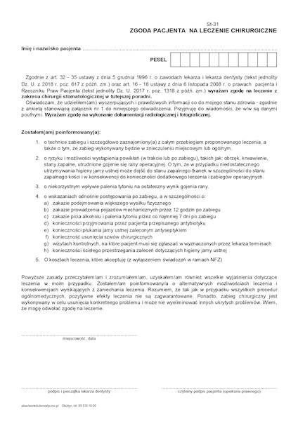 ST-31 Zgoda pacjenta na leczenie chirurgiczne A4a,bl100k