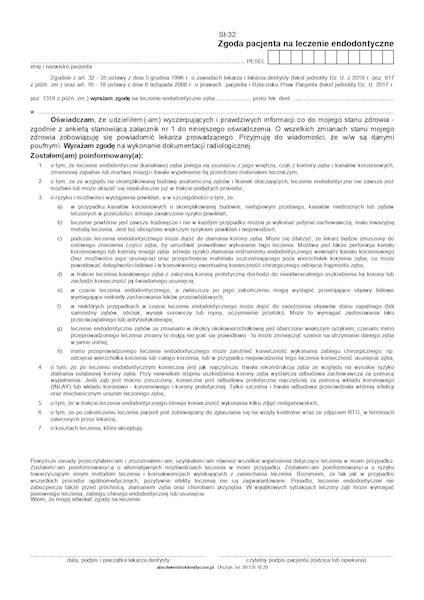 ST-32 Zgoda pacjenta na lecz. endodontyczne A4c,bl.100k