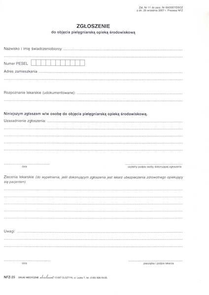 NFZ-35 Zgłoszenie do objęcia pielęgniarską opieką środowiskową A4a/bl.100k