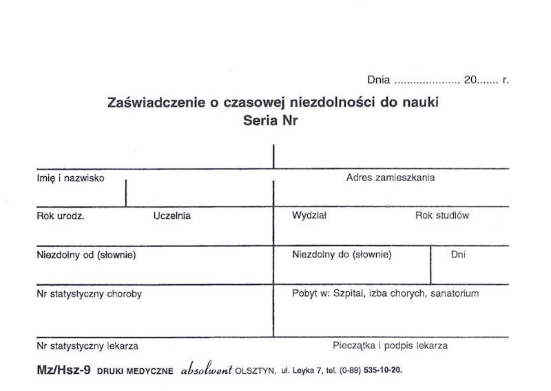 HSZ-9 Zaświadczenie o czasowej niezdolności do nauki A6a/bl.100k