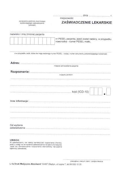 L-1A Zaświadczenie Lekarskie A5a/bl.100k