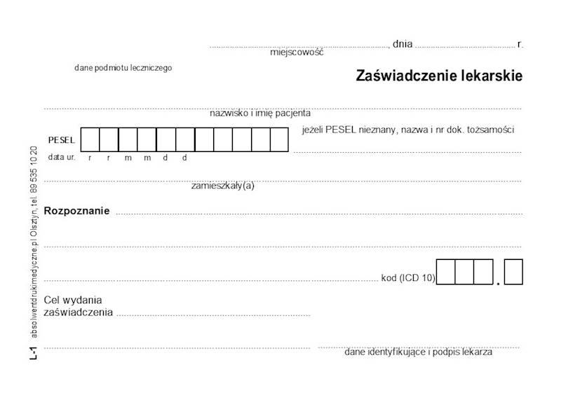 L-1 Zaświadczenie lekarskie A6a/bl.100k
