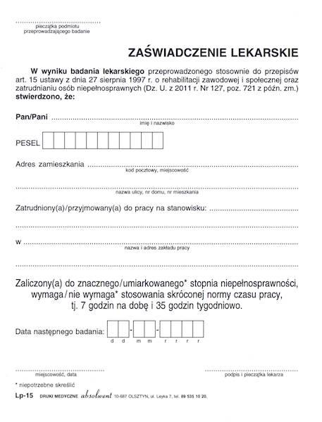 LP-15 Zaświadczenie lekarskie (skrócony czas pracy) A5a/bl.100k Samokopia