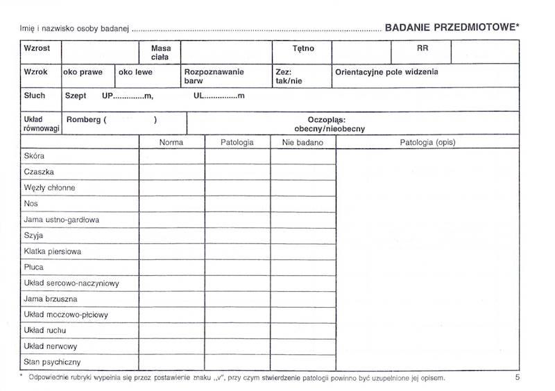 LP-3/2010 Karta badania profilaktycznego 4xA5/100szt Komplet