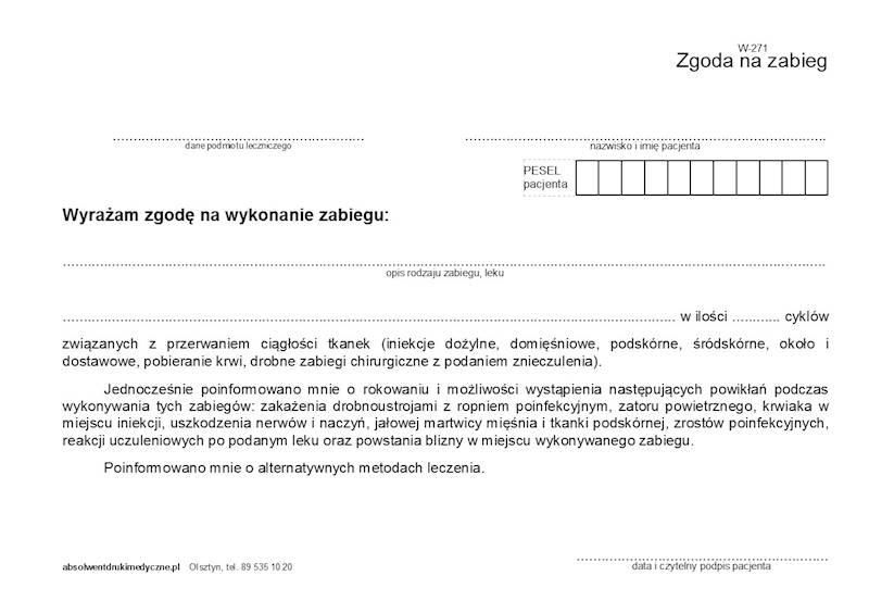 W-271 Zgoda na zabieg (iniekcję) A5a/bl.100k