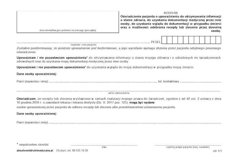 Rodo/08 Oświadczenie pacjenta o upoważnieniu A5a/bl.100k