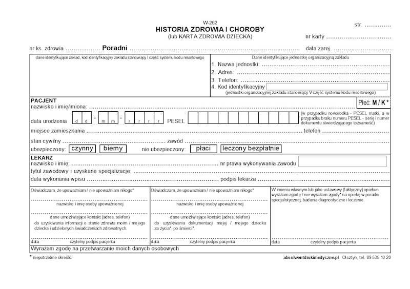 W-262 Historia zdrowia i choroby 2xA5c/100szt