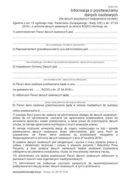Rodo/01 Informacja o przetwarzaniu danych osobowych A5a/bl.100k