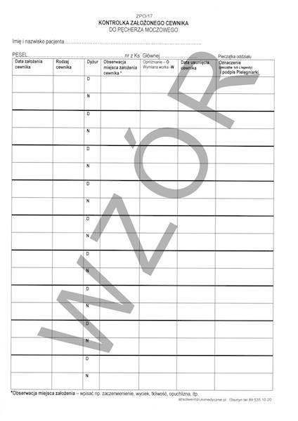 ZPO/17 Kontrolka założenia cewnika A4b/bl.100k