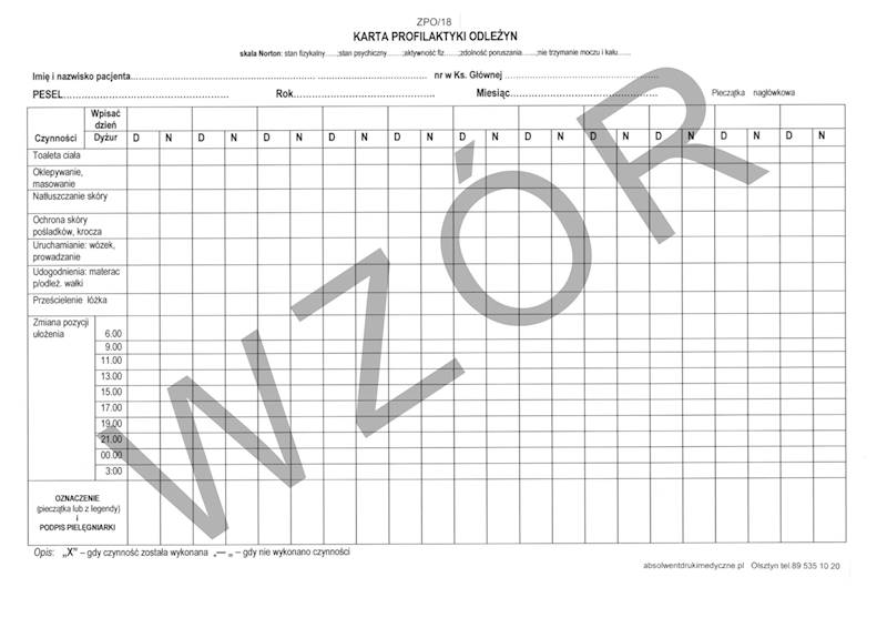 ZPO/18 Karta profilaktyki odleżyn 2xA4b/100szt