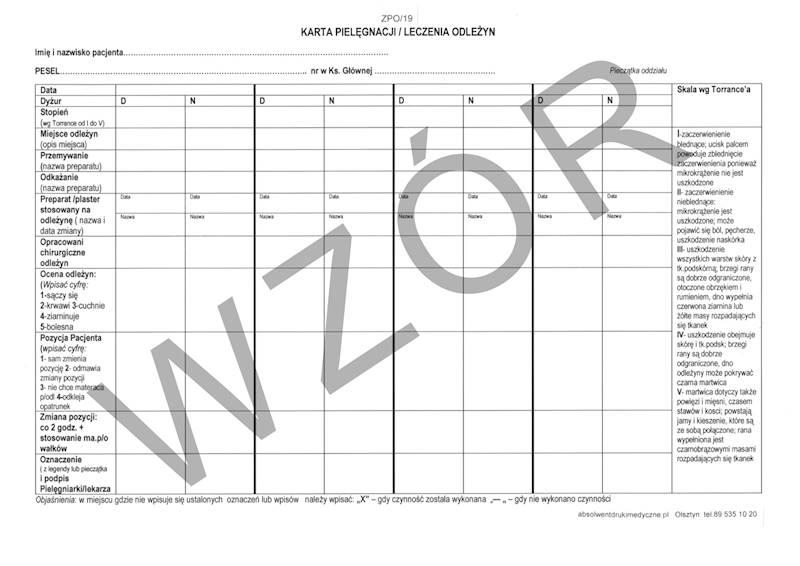 ZPO/19 Karta pielęgnacji / leczenia odleżyn A4b/bl.100k