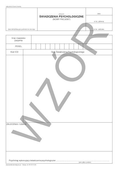 ZPO/21 Świadczenia Psychologiczne (nowy pacjent) A4a/bl.100k