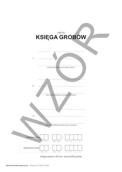 Cme/02 Księga Grobów A4/100k Oprawa twarda