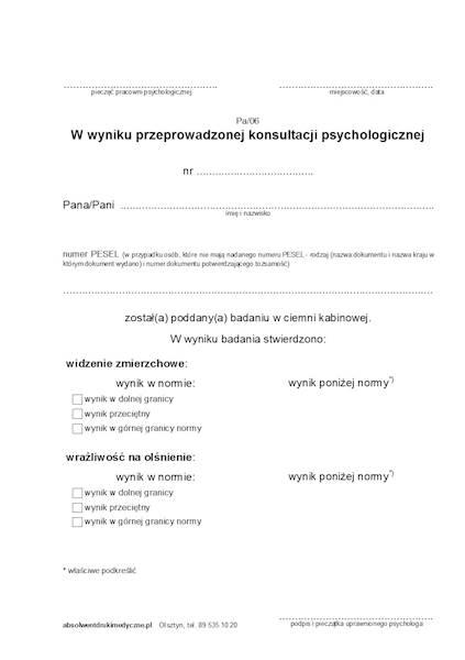 Pa/06 Konsultacja Psychologiczna - Badanie w ciemni kabinowej A5a/bl.100k Samokopia