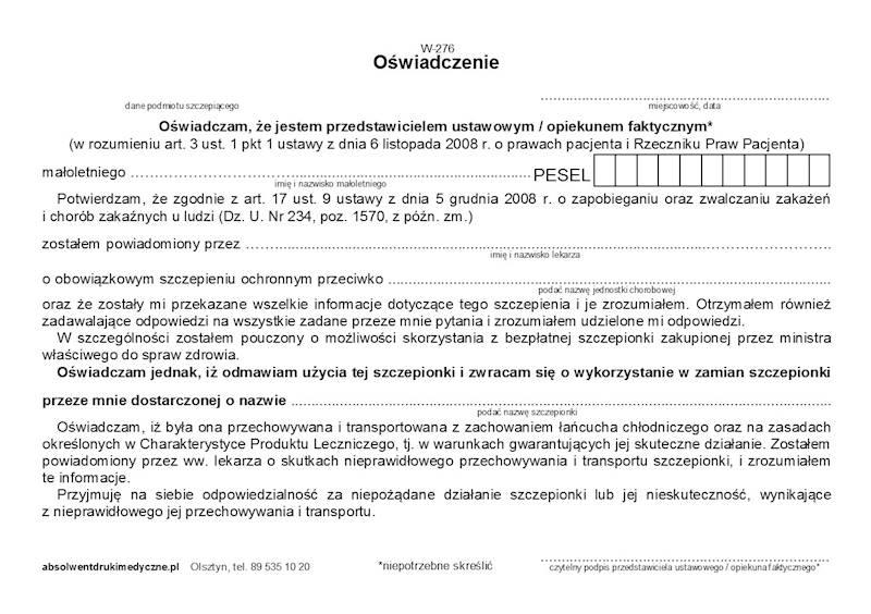 W-276 Oświadczenie - szczepienia - szczepionka pacjenta A5a/bl.100k