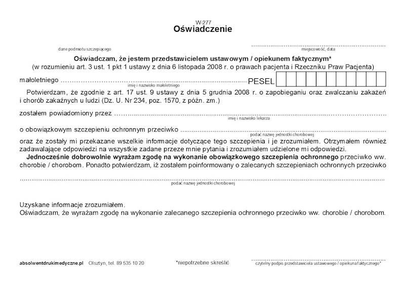 W-277 Oświadczenie - szczepienia - ZGODA A5a/bl.100k