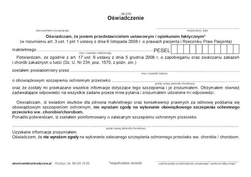 W-278 Oświadczenie - szczepienia - brak zgody A5a/bl.100k