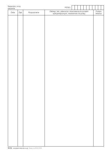 W-93a Wkładka do karty stomatologicznej A4b/bl.100k