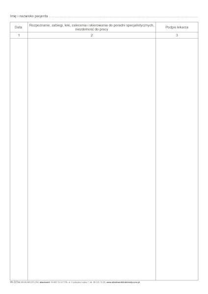 W-223a Wkładka do karty stomatologicznej A4b/bl.100k
