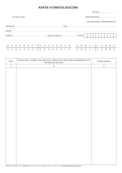 W-223 Karta stomatologiczna 2xA4c/bl.100k